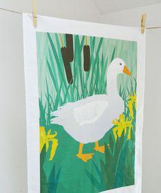 SALE  Goose and Irises Tea Towel by JaneCrick on Etsy, £4.50
