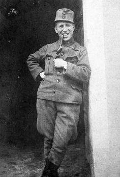 Austro-Hungarian soldier smoking pipe