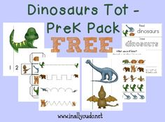 What kid doesn't love Dinosaurs? Now your little ones can enjoy learning about them with this FUN Dinosaur Tot Pack!! 31 pages :: www.inallyoudo.net