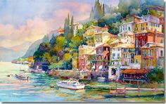 """Varenna"" by Rose Edin.  Watercolor showing the shore of Lake Como in the lake country of Northern Italy."