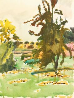 """""""The Pear Tree - Autumn,"""" Fairfield Porter, 1972, watercolor on paper, 16 x 12"""", private collection."""