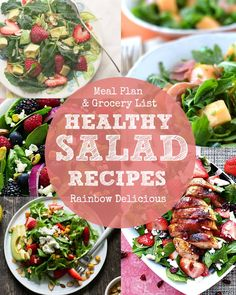 Five easy and healthy spring salad recipes with grocery list.  Three are vegetarian. These dishes can be added to your weekly menu as light meals, some are filling enough for dinner (like the one with chicken), and others make quick lunches. Lots of fresh ingredients like strawberries, avocados, cantaloupe, arugula, spinach, kale, lemon, and more to help you and your family eat the rainbow   Rainbow Delicious