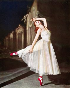 British ballerina Moira Shearer performed the leading role in the ballet masterpiece film, The Red Shoes (1948). A young ballet dancer is torn between the man she loves and her pursuit to become a prima ballerina.  Inspired by the fairy tale, The Red Shoes. Hans Christian Andersen. Published 1845.