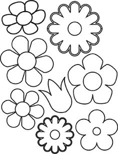 Paper Flower Cut Out Patterns Templates flower template Felt Flowers, Diy Flowers, Fabric Flowers, Paper Flowers, Spring Flowers, Applique Patterns, Flower Patterns, Flower Designs, Motifs D'appliques