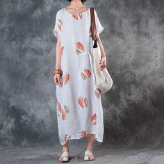 Printing Ramie Women Round Neck Summer Dress