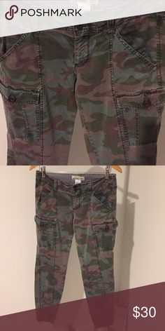 """Old Navy Camouflage Pants Old Navy Camouflage Cargo Pants. Pockets in back. Pockets on the side. Zipper at the bottom side of the legs. Inseam 27"""".  The actual pants are the color of the last 2 photos. The first photo is to give you a styling idea. Price dropped for Closet Clear Put! Price is firm. Old Navy Pants Straight Leg"""
