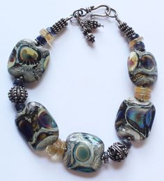 Vintage Sterling Silver & Agate Beaded Bracelet by paststore on Etsy