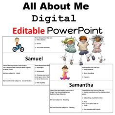 This PowerPoint makes it easy for your students to complete an All About Me slideWhen they are completed you can make a digital class bookcompletely EDITABLE 2 samples are included to provide students with visuals for a Distant Learning activityThe slide includesA picture of meThree things that I li... Good Books, My Books, First Grade Lessons, Second Grade, Learning Activities, Teacher Resources, I Am Awesome, Teaching, This Or That Questions