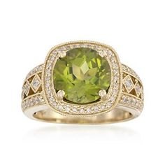 Our 4.00 carat green peridot and .30 ct. t.w. diamond ring will keep you dazzling from day to night. We love the intricate, antique-like setting. Polished 14kt yellow gold ring. >>Click on the Peridot Ring to see more styles like this at Ross-Simons.