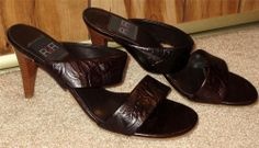 NWOB Woman's R2R Brown Leather Strappy Sandal Pumps Size 8M #PumpsClassics