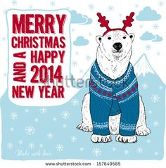 Merry Christmas and Happy New Year 2014 card. Polar bear in vintage sweater illustration