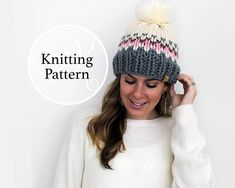 Peony Knits is home to knitwear, knitting patterns, and apparel. Ponytail Hat Knitting Pattern, Knitting Yarn, Cable Knitting Patterns, Crochet Patterns For Beginners, Learn To Crochet, Hand Crochet, Knitting Projects, Knitted Hats, Etsy