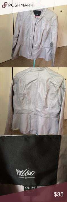Mossimo faux leather jacket New with tags, gray peplum style faux leather jacket. Size XXL, but it could probably fit an XL as well. Mossimo Supply Co. Jackets & Coats