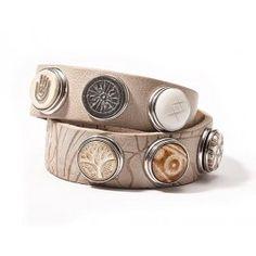 NOOSA Dubbele Armband met Reliëf Light Grey   BIJ'TIJ