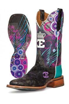 Women's Black Queenism Cinch Edge Boots Western Clothing