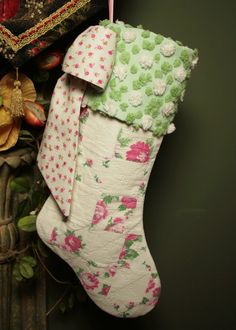 Pink Roses Vintage Quilt and Chenille Christmas Stocking