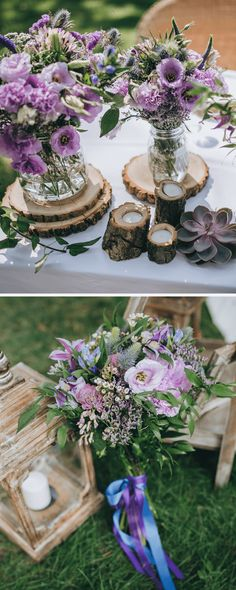 Wildflower deco ideas for rustic weddings- Wildblumen-Dekoideen für rustikale Hochzeiten Colorful, natural, down to earth – take a look at our wildflower wedding inspirations 😍 - Purple Wedding Decorations, Wedding Table Centerpieces, Flower Centerpieces, Table Decorations, Elegant Wedding Colors, Mauve Wedding, Wedding Flowers, Wildflowers Wedding, Wedding Dresses