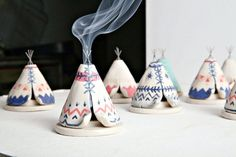 Ceramic Incense Burner TeePee that smokes, Blue, White, and Coral, Native… Polymer Clay Crafts, Diy Clay, Ceramic Clay, Ceramic Pottery, Slab Pottery, Thrown Pottery, Ceramic Bowls, Cerámica Ideas, Diy And Crafts