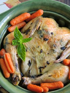 Basil and Garlic Slow Cooker Roasted Chicken via thefrugalfoodiemama.com - a simple & flavorful roasted chicken that you make in your slow cooker