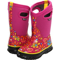 Winter boots- Bogs. Lightweight, warm and a snap for kid to pull on and off.