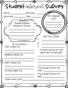 Student Interest Survey: Getting to Know Your Students. Get to know your students with a student interest survey. Use it at the beginning of the school year, after breaks, or open house and meet the teacher nights. If you get to meet your students before Get To Know You Activities, First Day Of School Activities, 1st Day Of School, Beginning Of The School Year, Middle School, Back To School Ideas For Teachers, September Activities, School Starts, Back To School Teacher