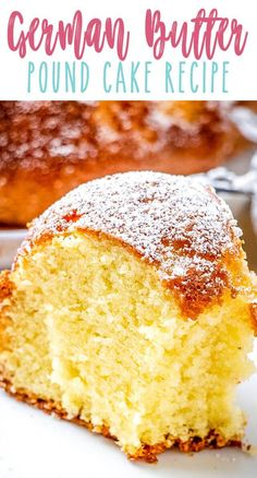 Moist, tender pound cake with the flavors of lemon, almond, cardamom and vanilla. This German Butter Pound Cake is easy to make. Sprinkle with sugar or serve with fresh fruit or ice cream. Vanilla Bundt Cake Recipes, Pound Cake Recipes, Easy Cake Recipes, Dessert Recipes, German Pound Cake Recipe, German Butter Cake, Easy Pound Cake, Deutsche Desserts, Butter Pound Cake