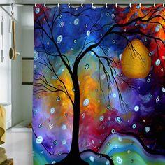 Madart Inc. Winter Sparkle Shower Curtain      Louise: ce rideau, je le prendrais en tableau