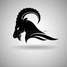 Black Goat Head Vector Design dark outline - vector illustration Stock Vector