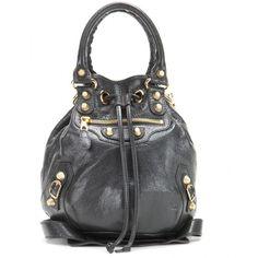 Balenciaga Giant Mini Pompon Leather Shoulder Bag ($1,650) ❤ liked on Polyvore featuring bags, handbags, shoulder bags, black, balenciaga purse, shoulder handbags, shoulder bag purse, genuine leather purse and leather shoulder bag