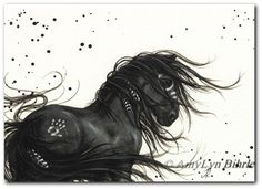 Majestic Horses 48 - Friesian Paint Native Feathers - ArT Prints or ACEO by Bihrle