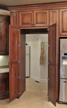 Walk in pantry  Birch cabinetry with cherry stain/finish. - traditional - kitchen - kansas city - Wende Woodworking LLC