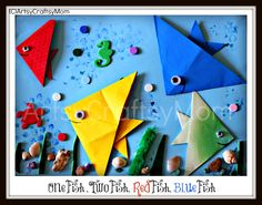 one fish two red blue seuss origami collage art project