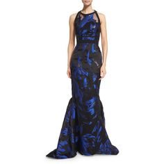 J. Mendel Halter-Neck Two-Tone Gown ($1,917) ❤ liked on Polyvore featuring dresses, gowns, blue noir, blue halter dress, halter neck dress, blue gown, halter evening dress and blue sleeveless dress