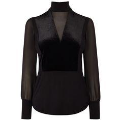 Karen Millen Velvet and Sheer Top, Black (€79) ❤ liked on Polyvore featuring tops, velvet turtleneck, velvet top, long sleeve turtleneck, sheer turtleneck top and print top