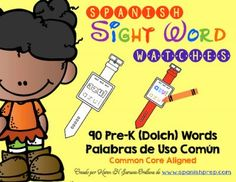 Spanish Pre-Kinder High Frequency Words (Dolch) Watches from KarenSaravia on TeachersNotebook.com -  (92 pages)  - Spanish Pre-Kinder High Frequency Words (Dolch) Watches