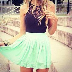 cute summer outfits for teens ~mint skirt black shirt . Summer Outfits 2014, Cute Summer Outfits For Teens, Cute Summer Dresses, Cute Dresses, Summer Clothes, Outfit Summer, Dress Summer, Formal Dresses, Casual Summer