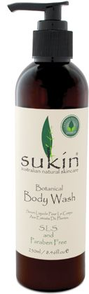 Sukin  Botanical Body Wash (1L)  $19.95    A sulphate free cleanser, with 1L refill bottles available. This brand comes in recyclable packaging and is vegan and free from parabens, mineral oils and synthetic fragrances. Plus it's Australian made and owned.