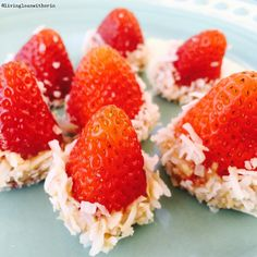 Christmas in July! Don't these cuties look like Santa hats?! Snack-attack got you down? Just dip the bottom of a strawberry in cashew butter and roll the bottoms in organic shredded coconut (the Trader Joe's brand rocks!) and it's really inexpensive. #kidsnacks #whole30 #santahats