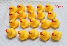 Bath Toy 10pcs Hot Wholesale Bathing Classic Toy Yellow Duck With Number 5 Printed Cute Baby Shower Floating Rubber Duck For Kids Ture 100% Guarantee