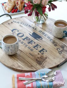 Easily transport your coffee to wherever you want to enjoy it with this DIY Stenciled Coffee Tray | inspiredbycharm.com