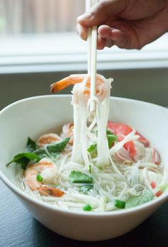 Vietnamese Seafood Noodle Soup Pho — My Healthy Dish Rice Noodle Soups, Rice Noodles, Thai Noodles, Healthy Dishes, Healthy Recipes, Healthy Soup, Soup Recipes, Cooking Recipes, Drink Recipes