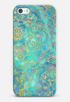 Sapphire & Jade Stained Glass Mandalas iPhone 5s case by Micklyn Le Feuvre | Casetify