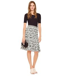 Tory Burch Smocked Cotton Skirt
