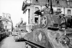 US armor advancing on Paris, France, July-August 1944.