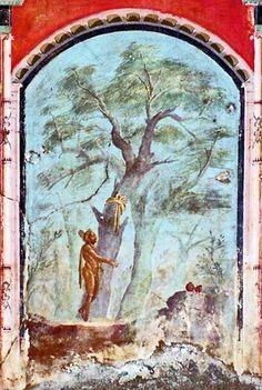 Heracles in the Garden of the Hesperides, Caldarium, Villa di Poppaea, Oplontis Rome Painting, Mural Painting, Ancient Rome, Ancient Art, Tempera, Museum Studies, Hercule, Pompeii And Herculaneum, Roman Art