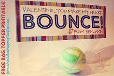 Bouncy ball gift bag topper. Free printable.