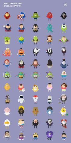 달걀 캐릭터 콜렉션 - 영상/모션그래픽 · 일러스트레이션, 영상/모션그래픽, 일러스트레이션, 디지털 아트, 일러스트레이션