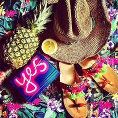 Instagram picture of tropical pineapple floral print crazy beautiful colourful colors summer havana hawaii holiday cocktails sandals summerhat adventure jimmy choo jimmychoo yes clutch summer love