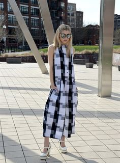 Checkered Jumpsuit.  The perfect spring piece.    Outfit Details on Mermaid Waves - Style Blog