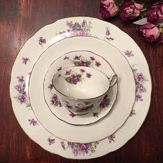 Set of 4 Vintage Mismatched Plates  Violets and by DishUponAStar